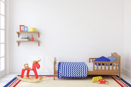 Bedroom for boy. Interior mock up. 3d render.
