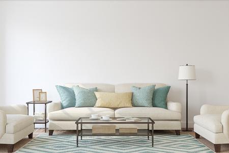 Living-room interior. Mockup. 3d render. Zdjęcie Seryjne