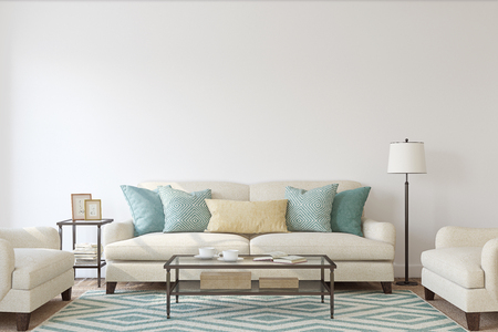 Living-room interior. Mockup. 3d render. Foto de archivo
