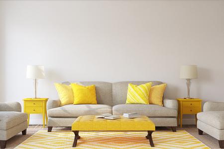 Living-room interior. Mockup. 3d render. Banque d'images