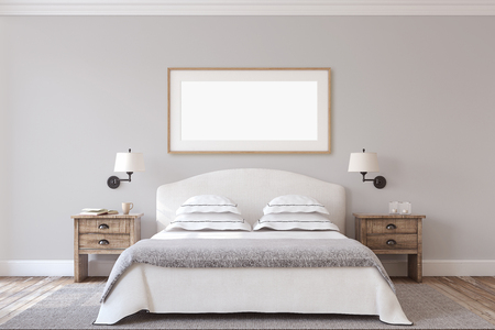 Bedroom interior in farmhouse style. Frame mock-up.3d render.
