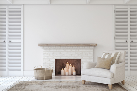 Interior with fireplace in farmhouse style. Interior mock-up. 3d render. Standard-Bild