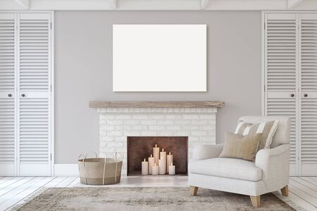 Interior with fireplace in farmhouse style. Canvas mock-up. 3d render.