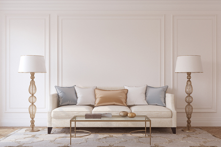 Living-room interior in neoclassic style. Mockup. 3d render. Foto de archivo