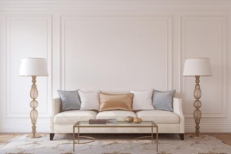 Living-room interior in neoclassic style. Mockup. 3d render. Archivio Fotografico
