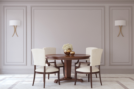 Dining-room in neoclassic style. Interior mockup. 3d render. Stock Photo