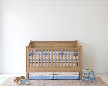Nursery for boy. Interior mockup. 3d render. 版權商用圖片