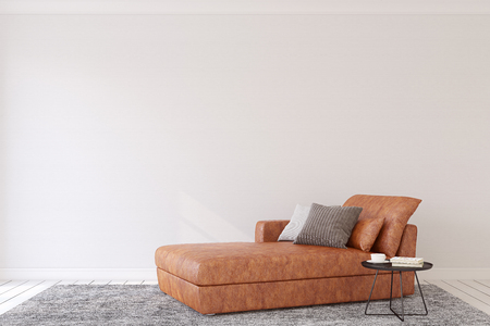 Modern living-room interior with leather couch. 3d render.