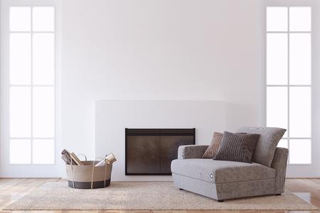 Modern interior with fireplace. Interior mock-up. 3d render. 版權商用圖片