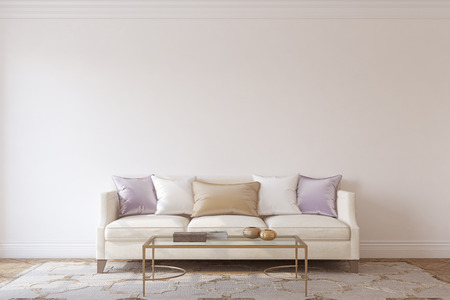 Living-room interior in neoclassic style. Interior mockup. 3d render. 版權商用圖片