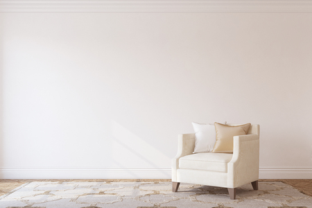 Interior with beige armchair near white wall. Interior mockup. 3d render. Stock Photo