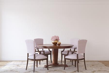 Dining-room in neoclassic style. Interior mockup. 3d render. 版權商用圖片