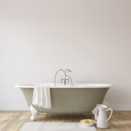 Romance bathroom. Interior mock-up. 3d render.