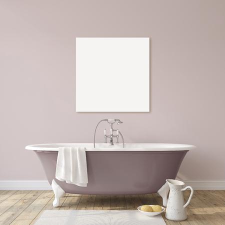Romance bathroom. Interior and cavas mock-up. 3d render. 版權商用圖片