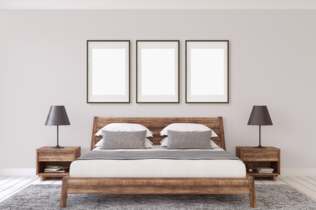 Interior ang frame mockup. Wooden bedroom. 3d render. 版權商用圖片