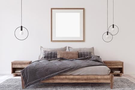 Interior and frame mockup. Wooden bedroom. 3d render. 版權商用圖片