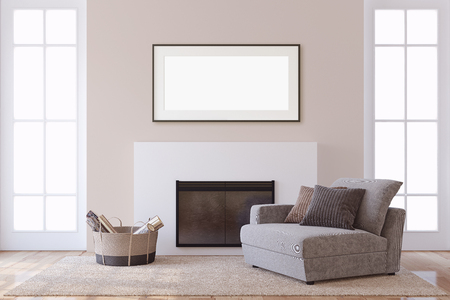Interior and frame mockup. Modern fireplace with armchair. 3d rendering.