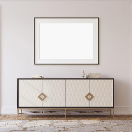 Interior and frame mockup. Hallway in neoclassical style. 3d rendering. 版權商用圖片