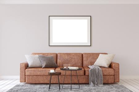 Interior and frame mockup. Modern living-room. 3d rendering. 版權商用圖片