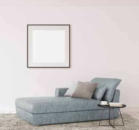 Interior and frame mockup. Modern couch near empty white wall. 3d render.