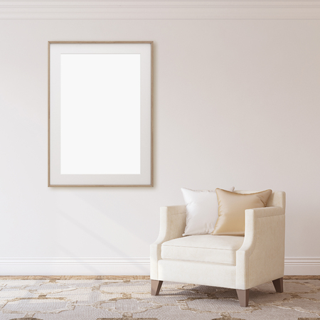 Interior and frame mockup. Armchair near empty white wall. 3d rendering.