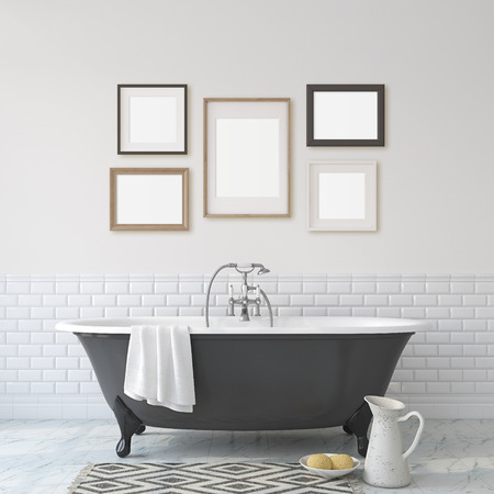 Romance bathroom. Black bathroom near white wall. Five different frames on the wall. Interior and frame mock-up. 3d render. 版權商用圖片