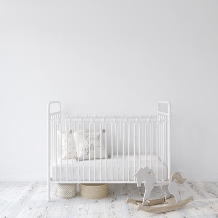 Kindergarten auf dem Bauernhof. Weißmetallkrippe nahe leerer weißer Wand Innenmodell. 3D-Rendering. Standard-Bild