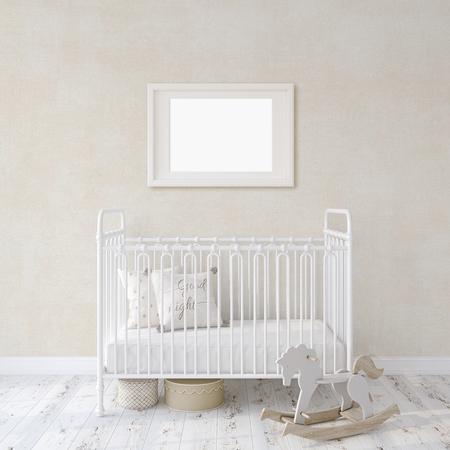Farmhouse nursery. White metal crib near white wall. Horizontal white frame on the wall. Interior and frame mockup. 3d rendering.
