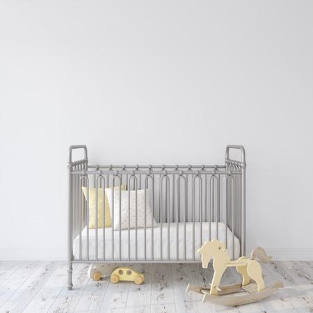Farmhouse nursery. Gray metal crib near empty white wall. Interior mock-up. 3d rendering.