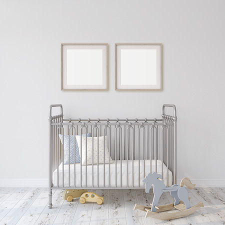 Farmhouse nursery. Gray metal crib near white wall. Two square wooden frames on the wall. Interior and frame mock-up. 3d rendering.