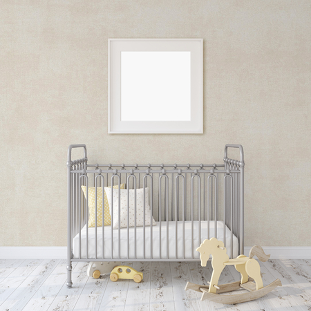 Farmhouse nursery. Gray metal crib near white wall. Square white frame on the wall. Interior and frame mock-up. 3d rendering.