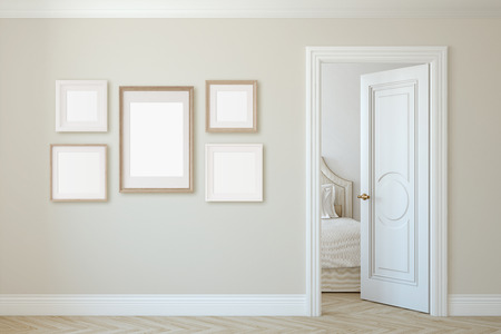 Interior and frame mockup. Several frames on the beige wall. 3d render. 版權商用圖片