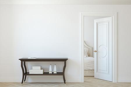 Interior mockup. Console table near empty white wall. 3d render. 版權商用圖片