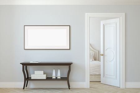 Interior and frame mockup. Console table near beige wall. Horizontal frame on the wall. 3d render.