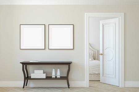 Innen- und Rahmenmodell. Konsolentisch nahe beige Wand. Zwei quadratische Rahmen an der Wand. 3D-Rendering.