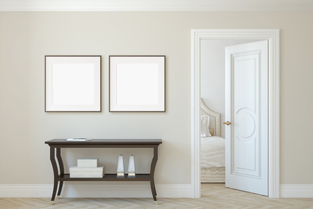 Interior and frame mockup. Console table near beige wall. Two square frames on the wall. 3d render.