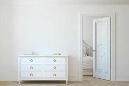 Interior mockup. White dresser near empty white wall. 3d rendering. 版權商用圖片