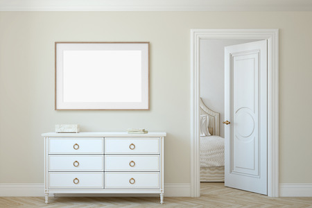 Modern hallway. White dresser near beige wall. Frame mockup. Wooden frame on the wall. 3d render. 版權商用圖片