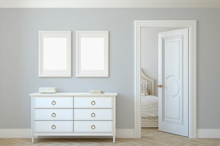 Modern hallway. White dresser near gray wall. Frame mockup. Two white frames on the wall. 3d render. 版權商用圖片