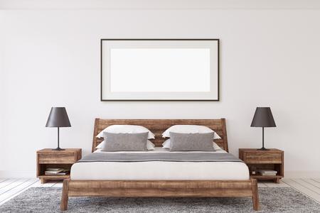 Interior ang frame mockup. Wooden modern bedroom. Black frame on the white wall. 3d render.