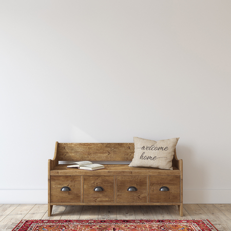 Farmhouse entryway. Wooden bench near white wall. Interior mockup. 3d render. Stock Photo