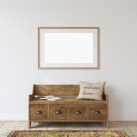 Farmhouse entryway. Wooden bench near white wall. Frame mockup. Wooden frame on the wall. 3d render. 版權商用圖片