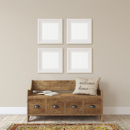 Farmhouse entryway. Wooden bench near white wall. Frame mockup. Four white square frames on the wall. 3d render. Standard-Bild