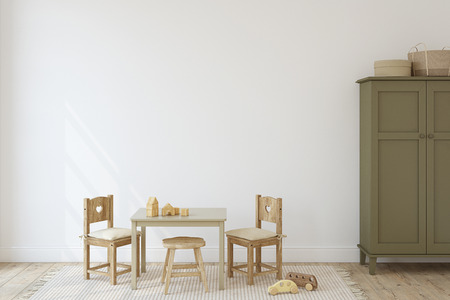Playroom with kid's table and chairs. Interior mockup. 3d render. 版權商用圖片