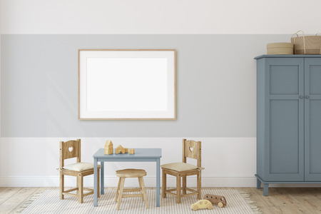 Playroom with kid's table and chairs. Interior and frame mockup. 3d render.