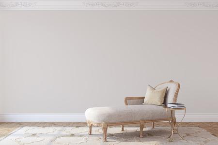 Living-room interior in french style. Mockup. 3d render. 版權商用圖片