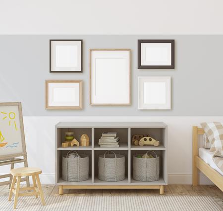 Toddler room. Interior and frame mock-up. 3d render.