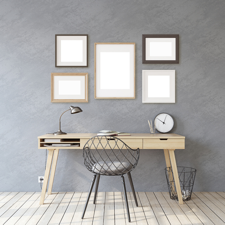 Home office. Interior and frame mockup. Wooden desk near gray wall. Different types of frames on the gray wall. 3d render.