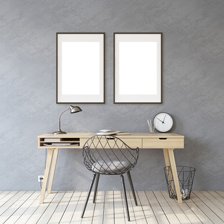 Home office. Interior and frame mockup. Wooden desk near gray wall. Two black frames on the gray wall. 3d render. 版權商用圖片