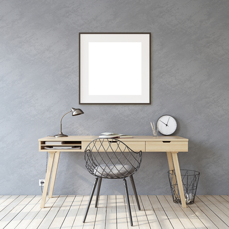 Home office. Interior and frame mockup. Wooden desk near gray wall. Black square frame on the gray wall. 3d render. 版權商用圖片
